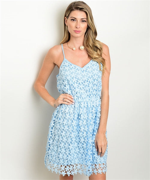 Light Blue Crochet Dress