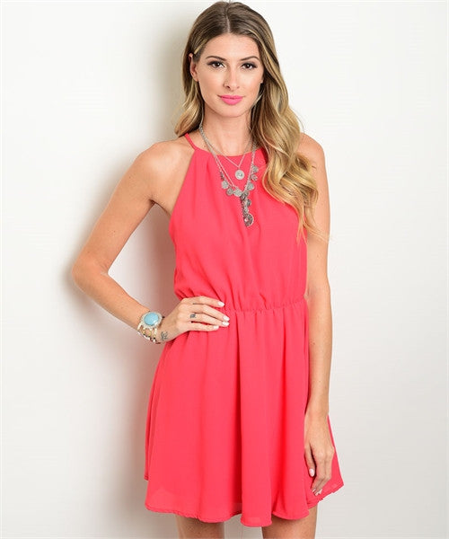 LARGE Coral Chloe Dress