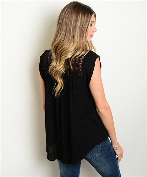 LARGE Black Woven Top