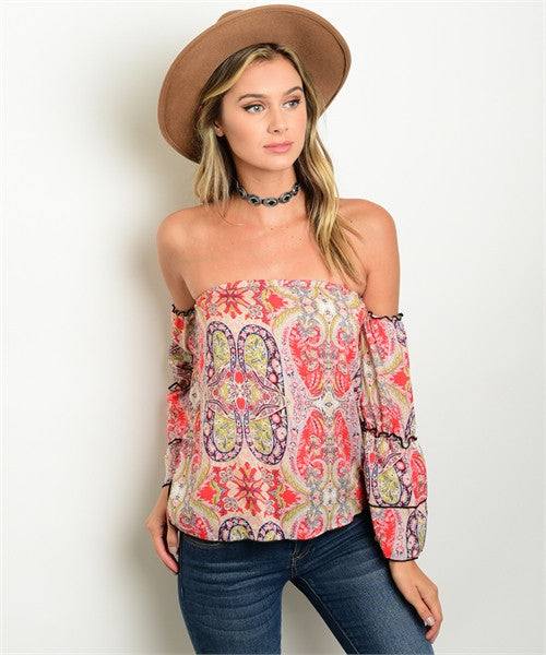 Paisley Off The Shoulder Top - Coral & Purple
