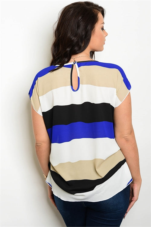 Ivory Beige and Blue Plus Size top