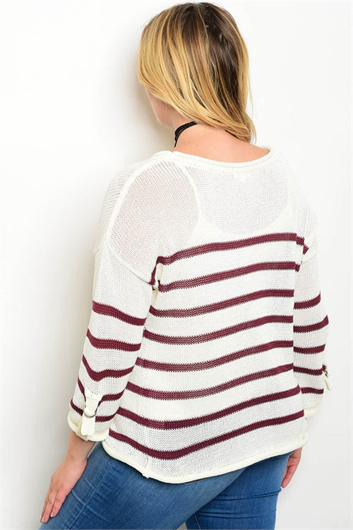 Ivory Burgundy Plus Size Sweater