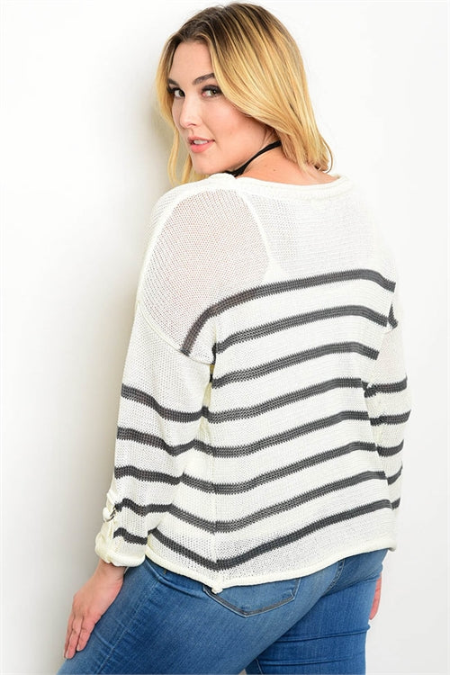 Ivory Charcoal Plus Size Sweater