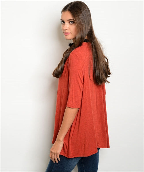 Rust Neck Tie Top