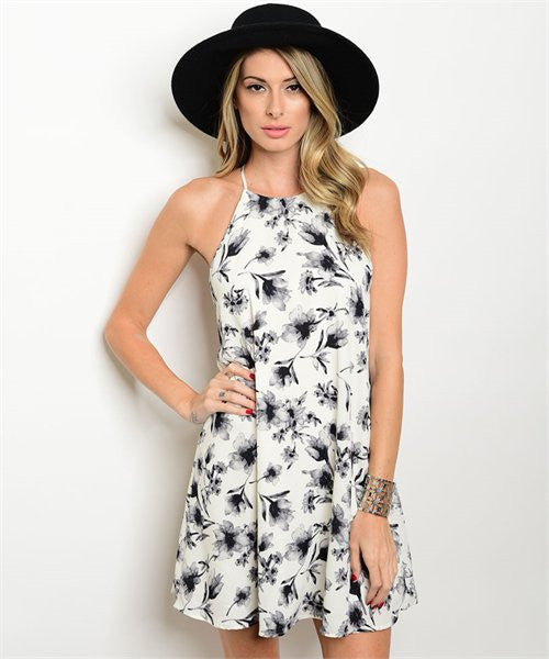 Ivory and Grey Floral Dress