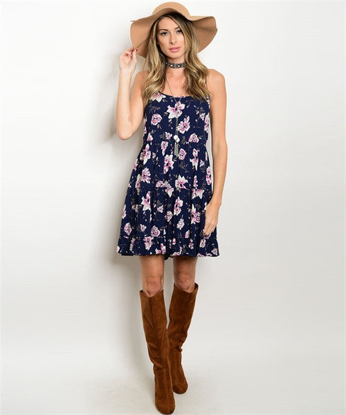 Spagetti Strap Navy Floral Dress