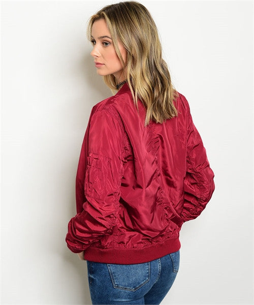 MEDIUM Burgundy Bomber Jacket
