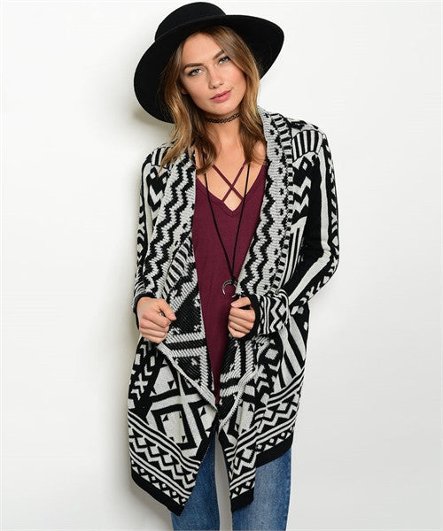 Black & White Brynn Aztec Cardigan