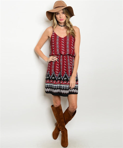 LARGE Burgundy Printed Dress