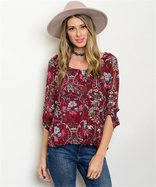 SMALL Burgundy Floral Top