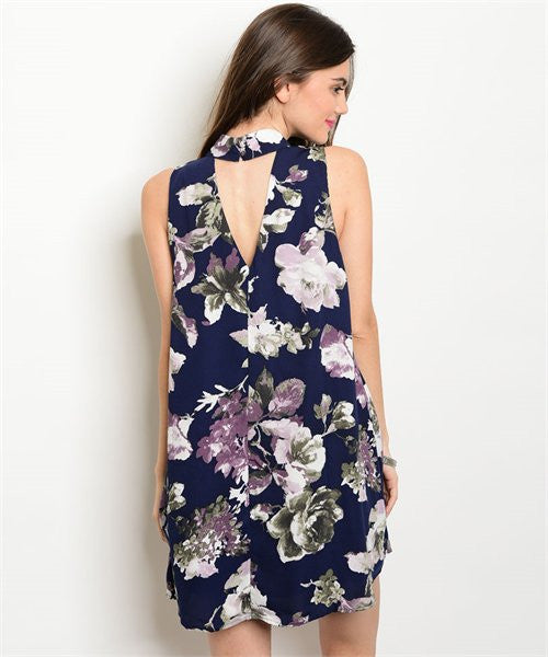 Navy Purple Floral Dress