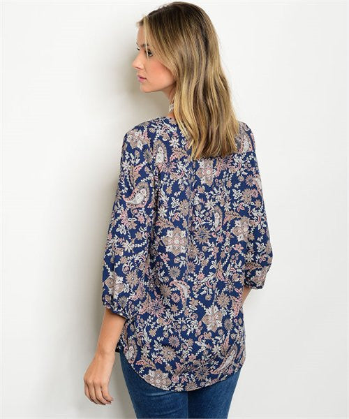 SMALL Navy Paisley Print Top