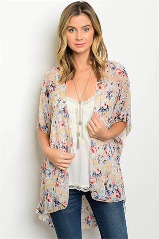 Navy Floral 3/4 Sleeve Plus Size Top