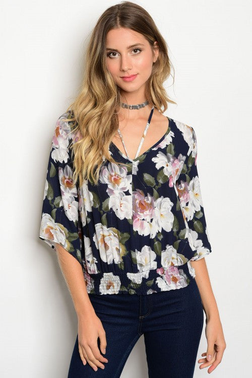 Scoop Neck Floral Print Top