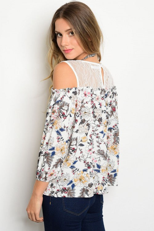 Ivory Floral Print Top