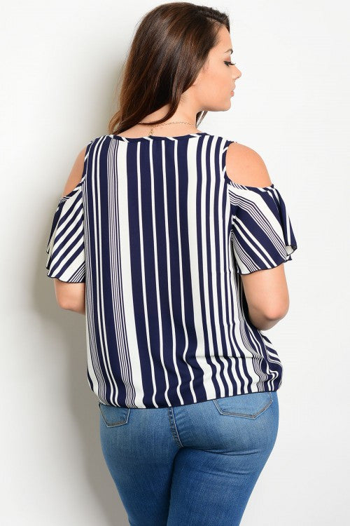 Navy Ivory Stripped Plus Top