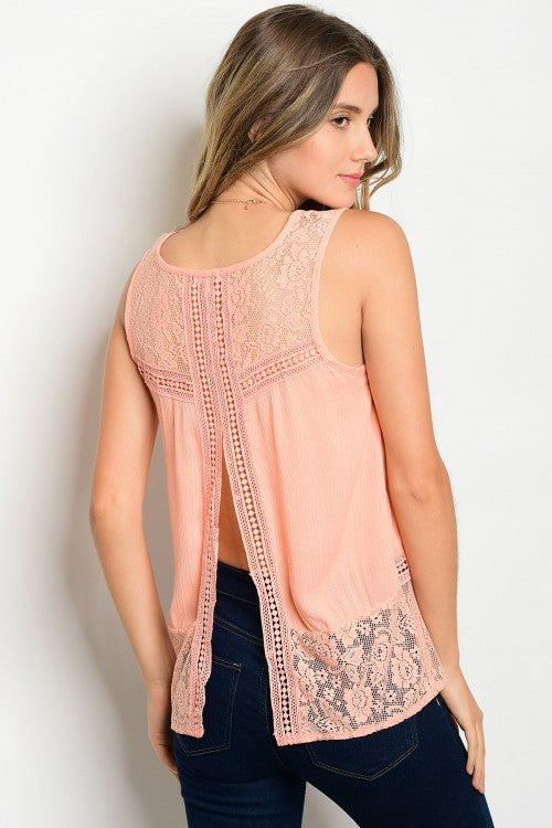 Peach Lace Top