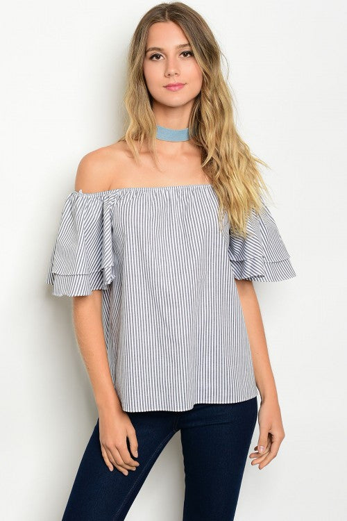 Charcoal & White Striped Off The Shoulder Top