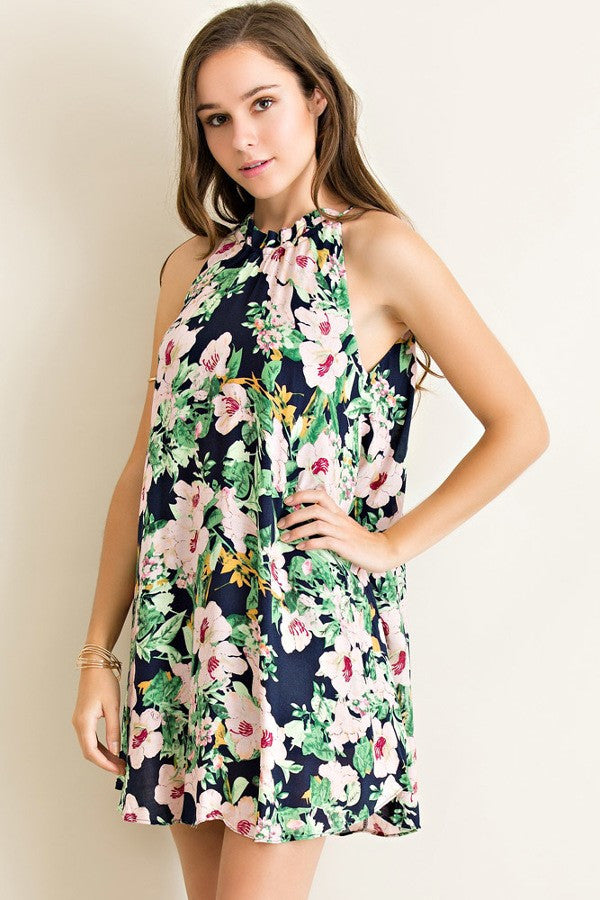 LARGE Entro Floral Print Dress - Navy