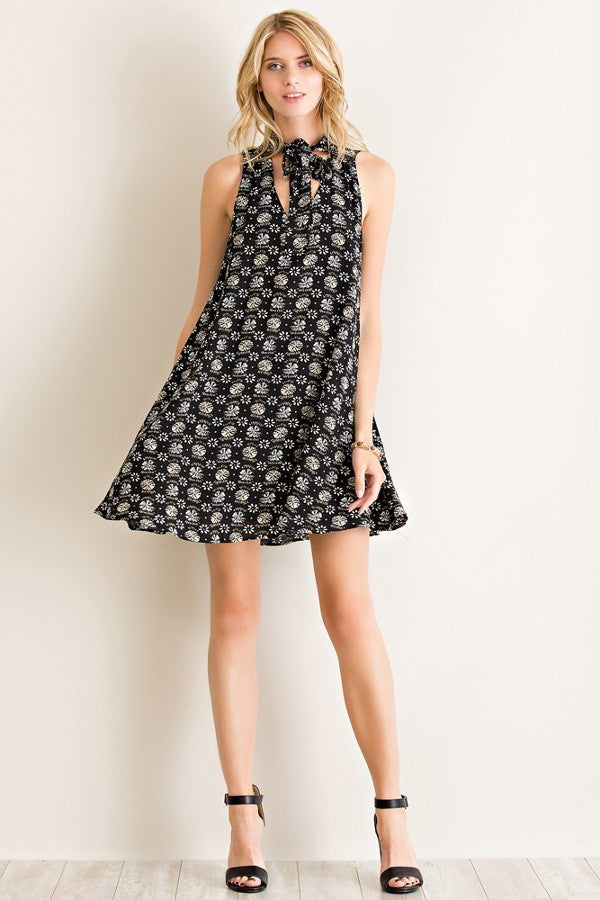 LARGE Black Entro A Line Floral Dress