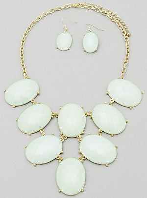 Glittering Oval Statement Necklace ONLY