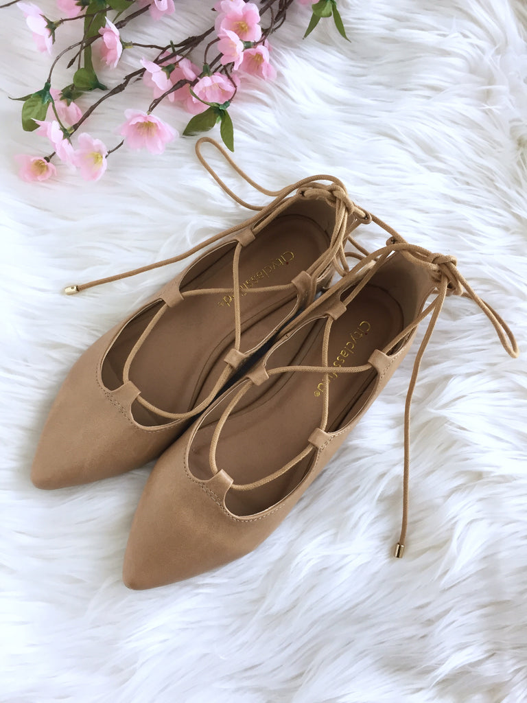 Bree Lace up Flats - Light Camel