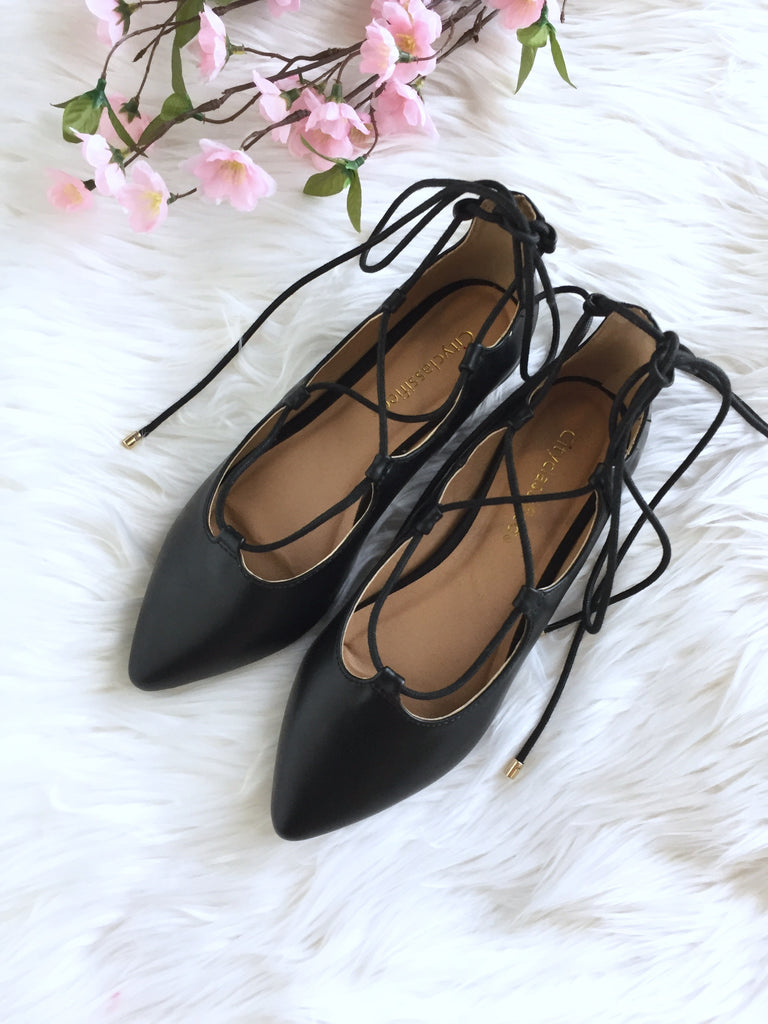 Bree Lace up Flats - Black