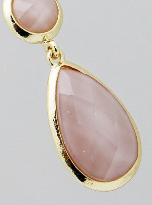 Blush Double Sided Teardrop Metallic Beaded Drop Earrings