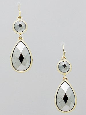 Silver Double Sided Teardrop Metallic Beaded Drop Earrings