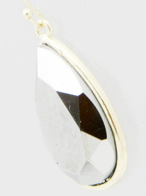 Faceted Teardrop Resin Earrings - Silver