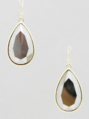 Cream Double Sided Teardrop Metallic Beaded Drop Earrings