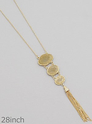Graduated Trio Simulated Druzy Tassel Necklaces - Tan