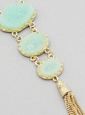Graduated Trio Simulated Druzy Tassel Necklaces - Jade