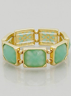 Resin Color Block Stretch Bracelet - Mint