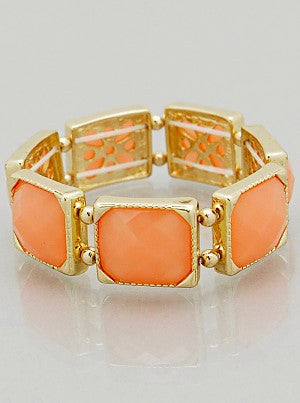 Resin Color Block Stretch Bracelet - Peach