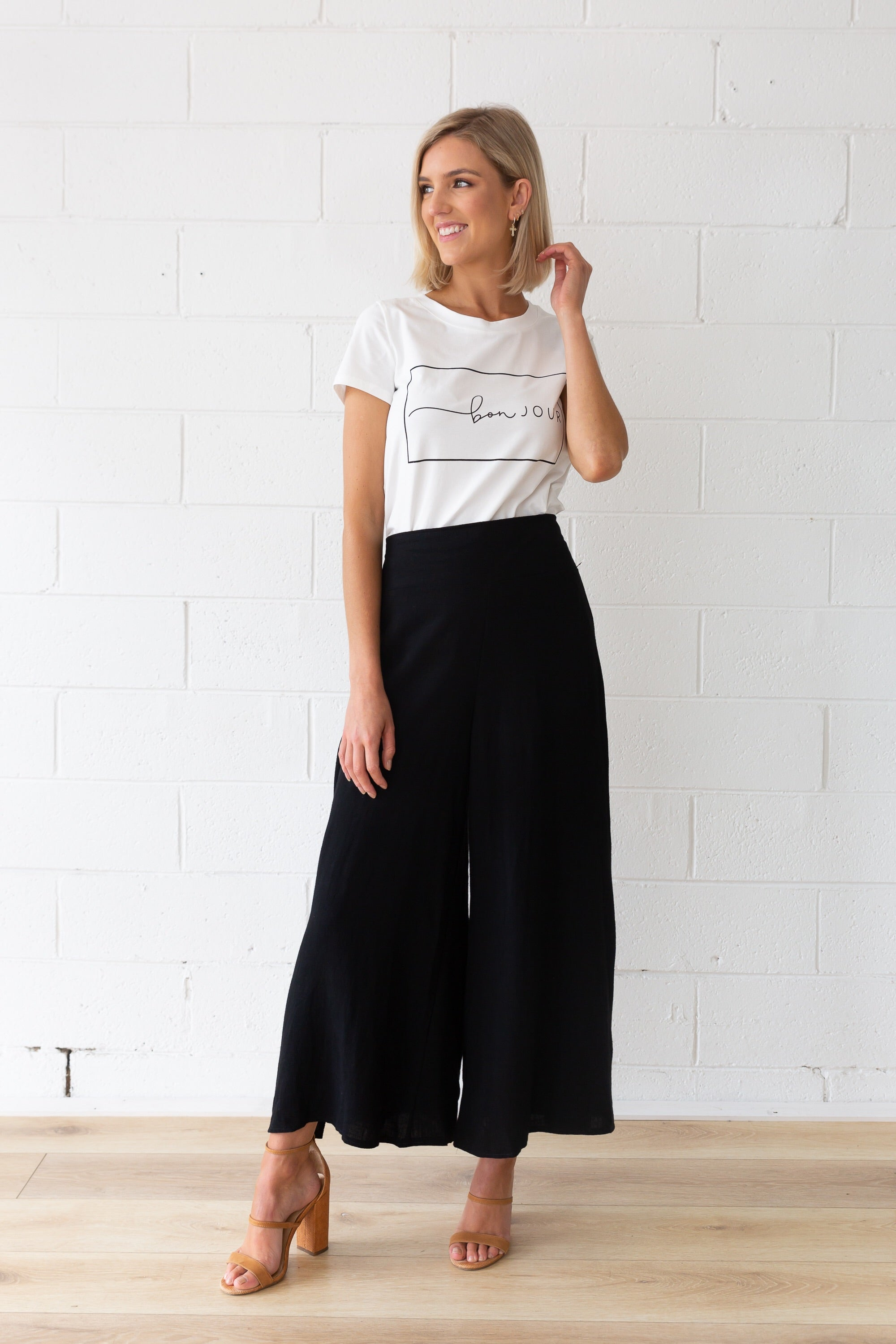 Harlow Linen Pants in Black