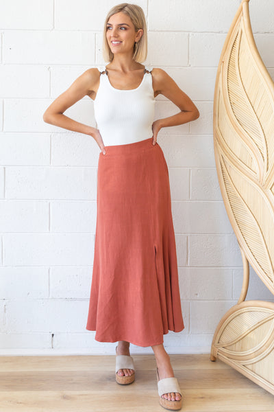 Emery Skirt in Rust