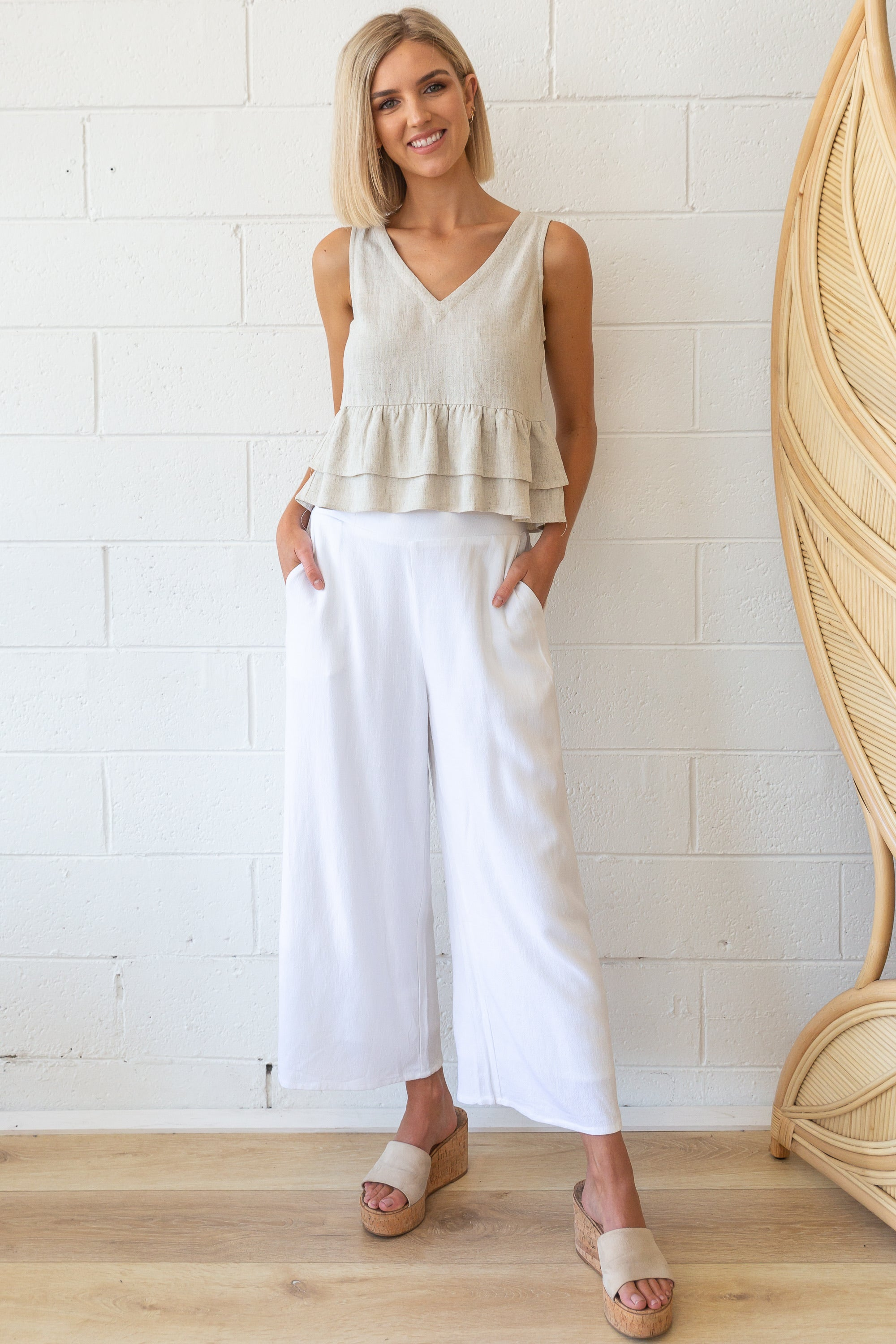 Lennox Linen Pants - White