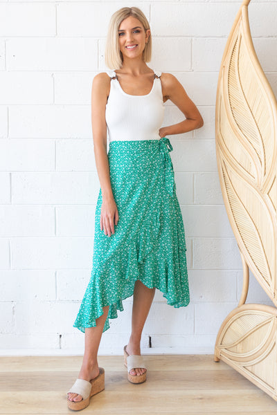 Coco Skirt in Green Floral