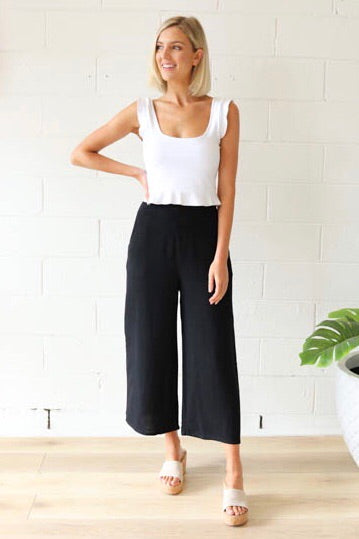 Lennox Linen Pants - Black