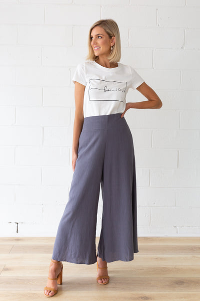 Harlow Linen Pants in Gun Metal
