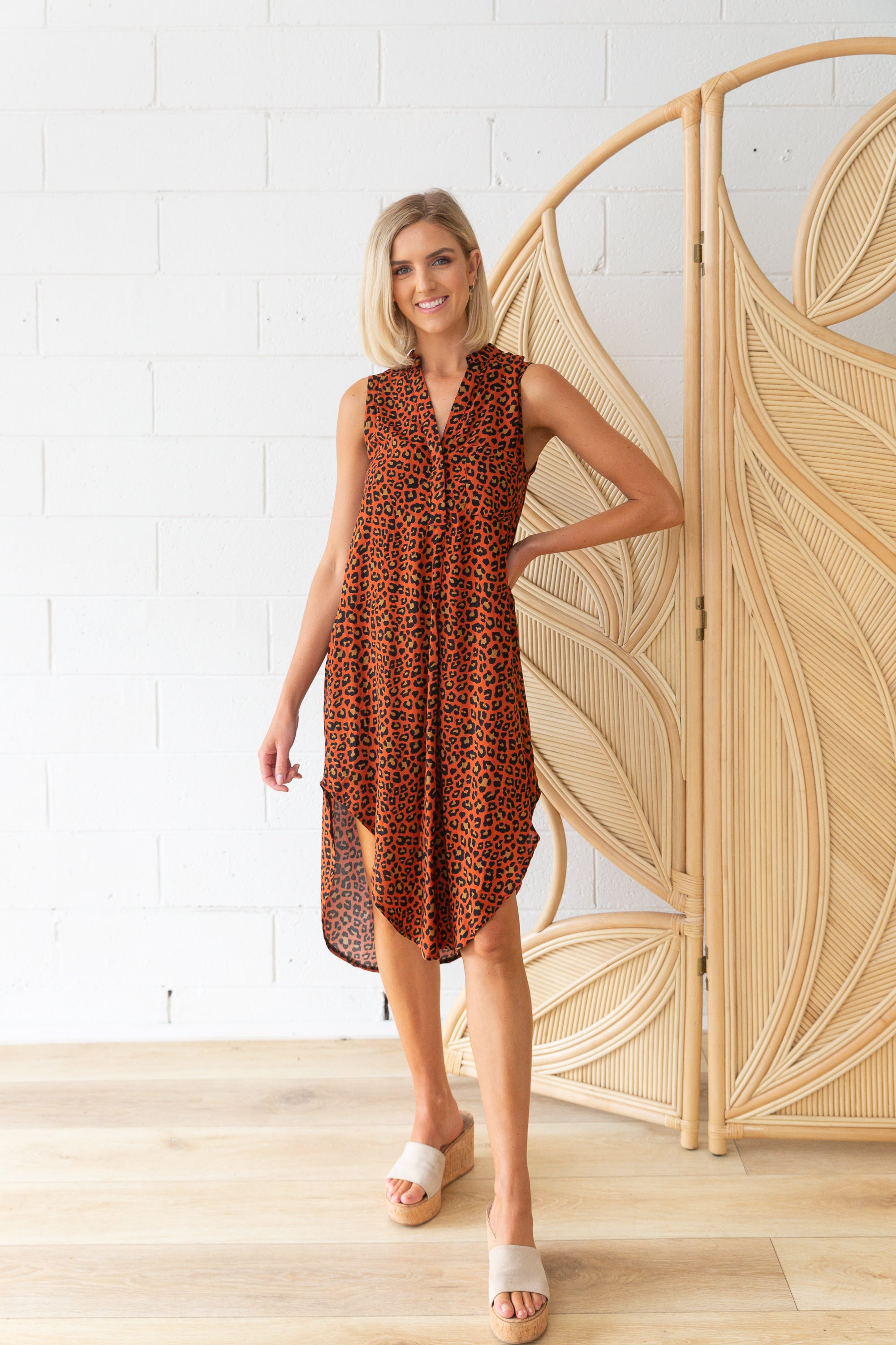 Memphis Dress in Rust Leopard