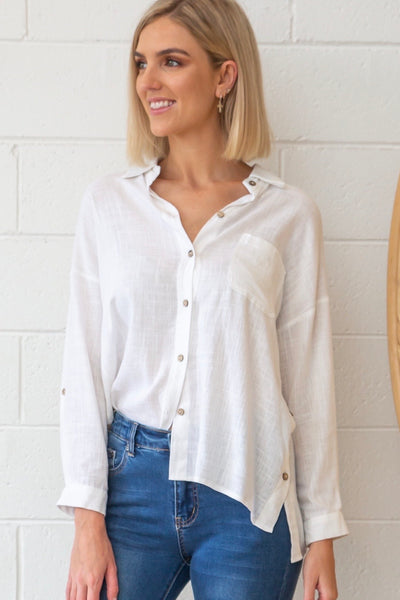 Bessie Linen Shirt in White