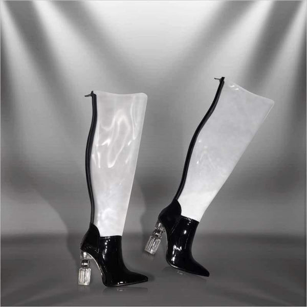 Aria - Thigh boot Zevallos Custom Made zevallosshoes.com back black boot boots custom