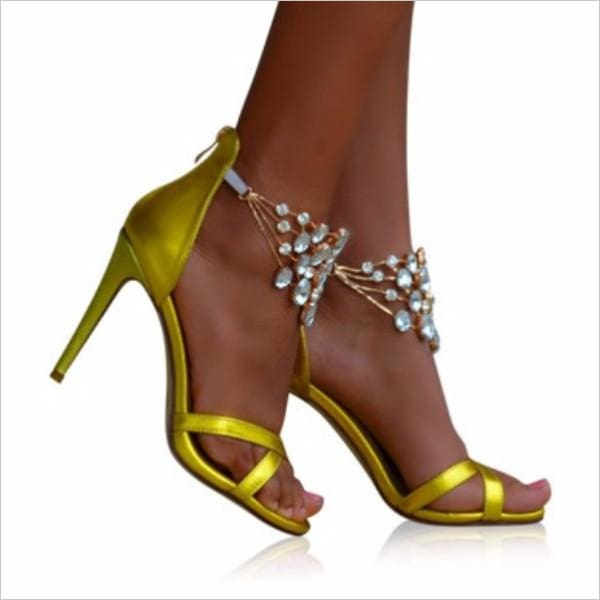 Harper - Heels Zevallos Custom Made zevallosshoes.com 2016 beaded diamonds gold heels