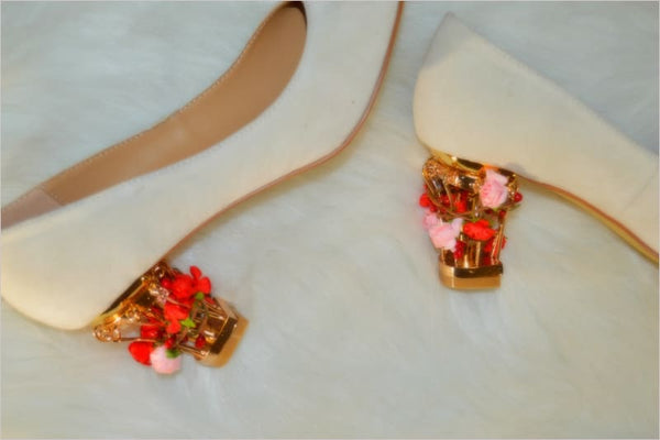 Indya - Heels Zevallos Custom Made zevallosshoes.com beads bridal custom diamonds gold