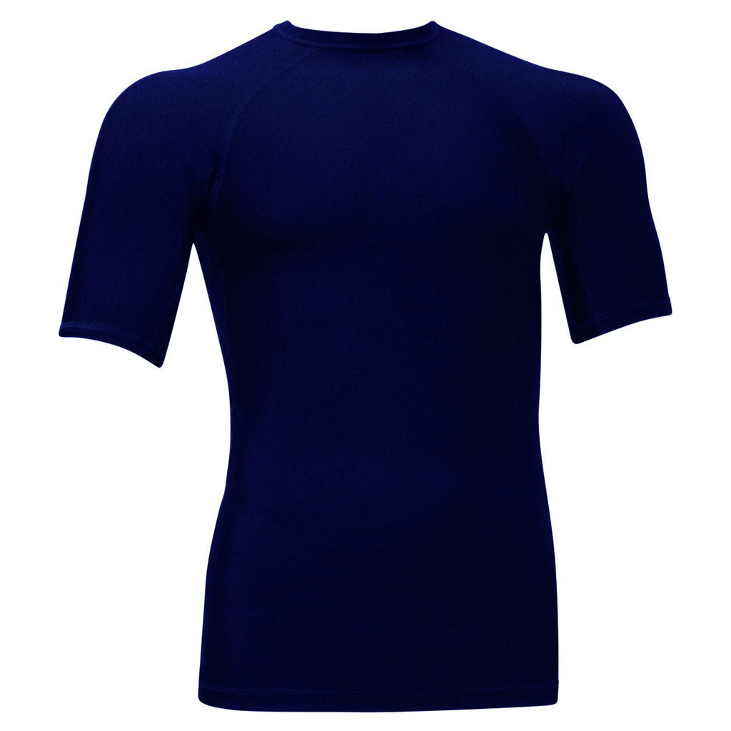 Navy Blue Short Sleeve Rash Guard Compression Shirt For Men