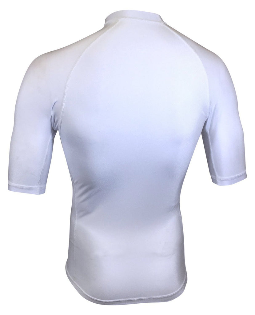 White Short Sleeve Rash Guard Compression Shirt For Men