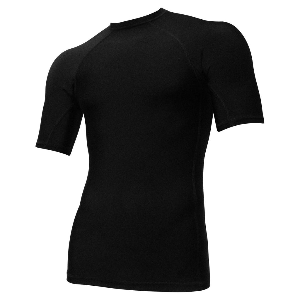 Black Short Sleeve Rash Guard Compression Shirt For Men