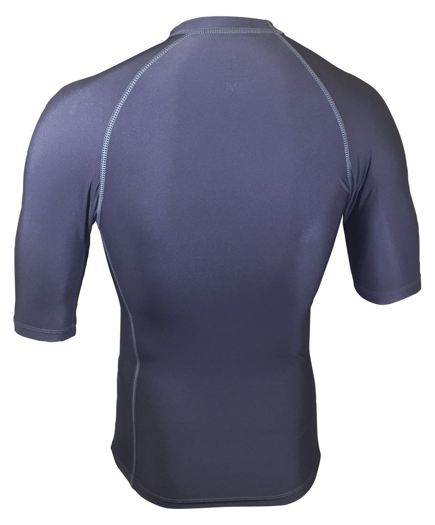 Charcoal Gray Short Sleeve Rash Guard Compression Shirt For Men